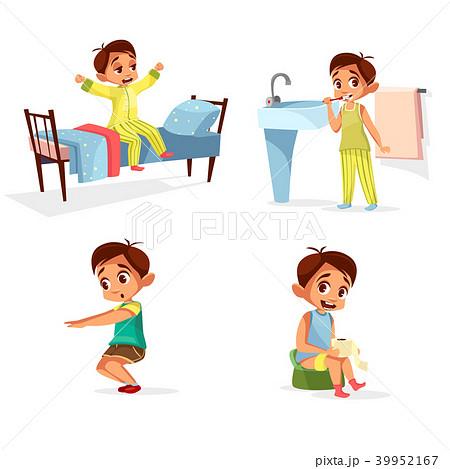 Vector cartoon boy daily morning routine activity 39952167
