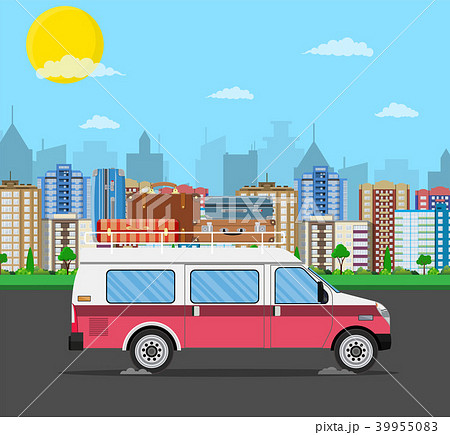 retro travel van car with bag on roof. 39955083
