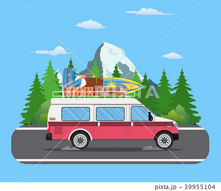 Road travel trailer driving on forest area road. 39955104