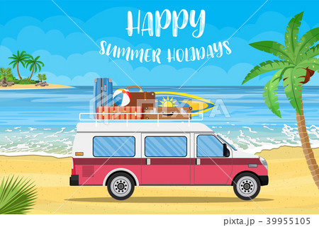 travel van with surfboard and suitcases 39955105