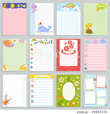 kids diary vector childish notebook blank and childly page template