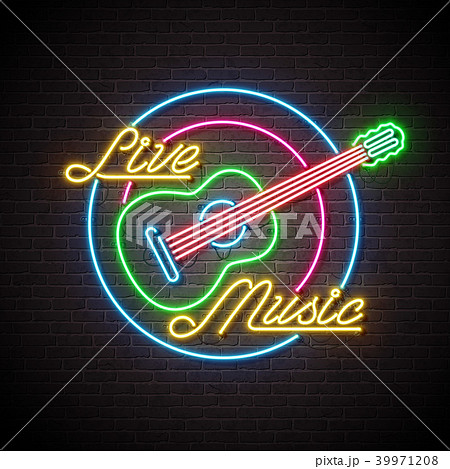 live music neon sign with guitar and letter on brick wall background