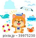 夏の海のイラストセット 柴犬 39975230