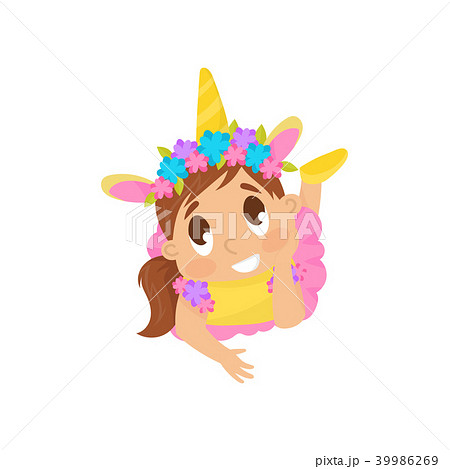 Lovely girl in unicorn costume vector Illustration on a white background 39986269
