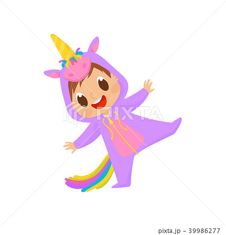 Lovely baby in unicorn costume having fun vector Illustration on a white background 39986277