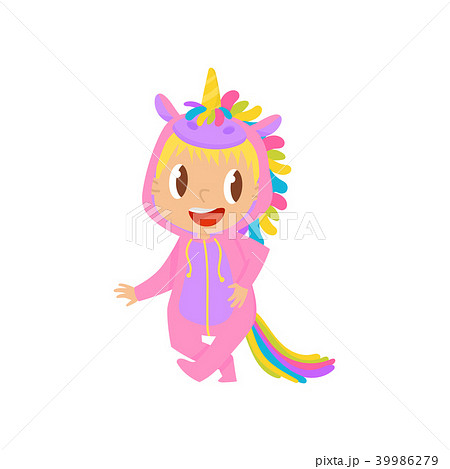 lovely baby girl in pink unicorn costume vector illustration on a