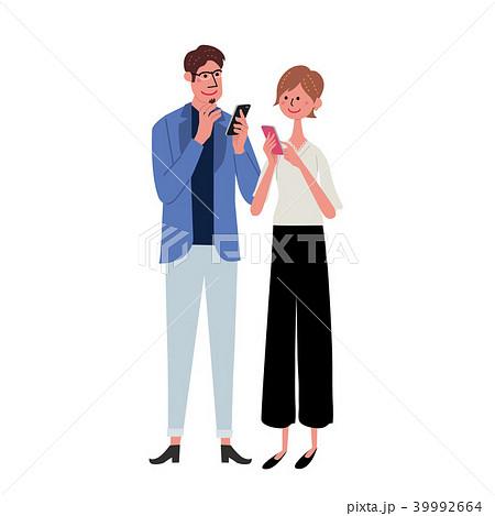 スマホ 若いカップル イラスト 39992664