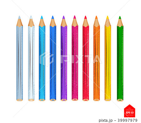 Top view illustration of color pencils  39997979