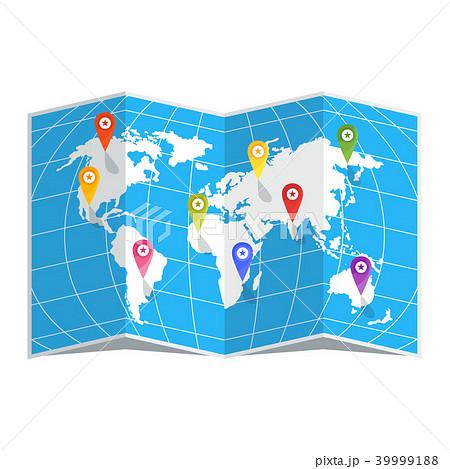 world map with pinsのイラスト素材 39999188 pixta
