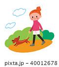 女性 犬 散歩のイラスト 40012678
