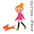 女性 犬 ペットのイラスト 40012763