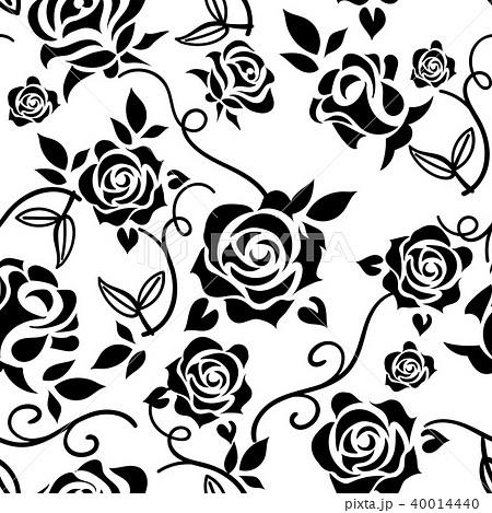 バラのイラスト白黒薔薇の模様の連続柄シームレスデザイン背景