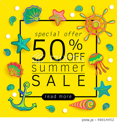 summer sale banner with pieces of marine items bright design vector