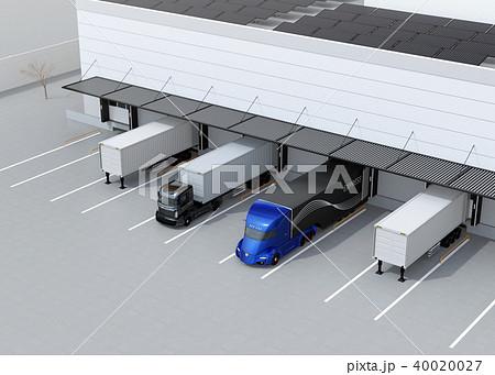 物流センタートラックターミナルの屋上にソーラーパネルが設置されている。環境配慮型物流センター 40020027