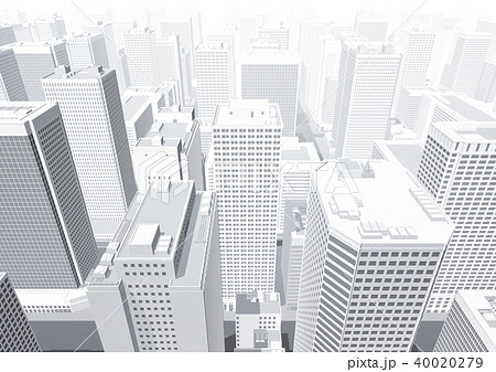 ビル群 都市 俯瞰 パース 白のイラスト素材 [40020279] , PIXTA