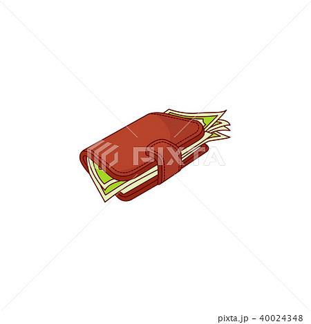 Vector flat red wallet purse dollar money banknote 40024348