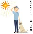 シニア 男性 真夏日のイラスト 40025873