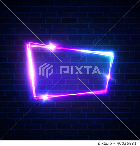 Night club neon sign on brick wall background. Blank 3d retro frame with shining neon lights. Disco 40026831