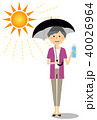 高齢者 女性 水分補給のイラスト 40026964