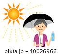 高齢者 女性 水分補給のイラスト 40026966