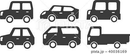 車 イラスト シルエット セットのイラスト素材 40036169 Pixta