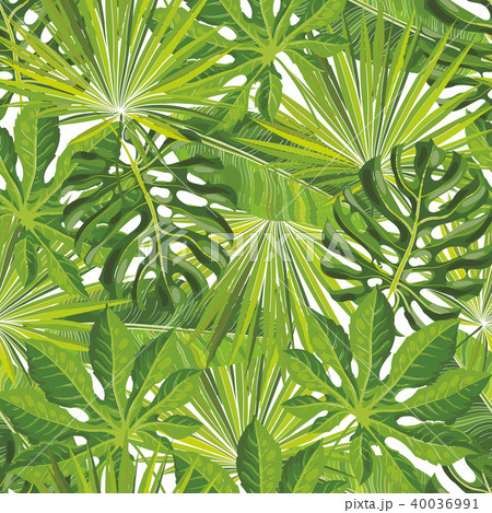 seamless tropical leaves pattern with green palm branches in sketch