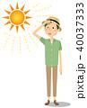 男性 真夏日 暑いのイラスト 40037333