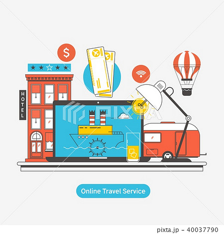 Booking reserve hotel.Travel booking concept. Hotel reservation, ticket purchase. Vector 40037790