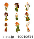Forest elves set, fairytale magic characters in green clothes vector Illustrations on a white 40040634