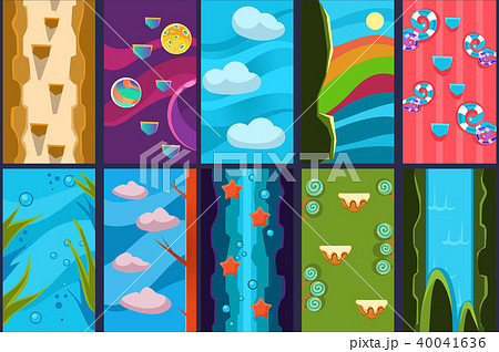 10 various vertical backgrounds for online mobile gamesのイラスト