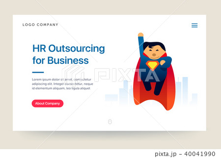hr outsourcing company website template super hero illustration