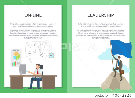 online and leadership set of posters with textのイラスト素材