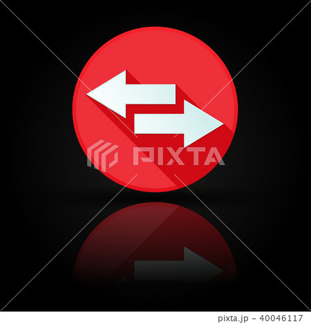 Arrow icon. Red sign with reflection on black background. Right and left symbol 40046117