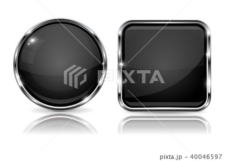 Black buttons with chrome frame. 3d round and square icons with reflection 40046597