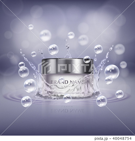 Vector realistic glass jar with cosmetic product 40048754