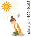 女性 熱中症 真夏日のイラスト 40049198