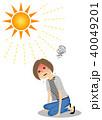 女性 熱中症 真夏日のイラスト 40049201