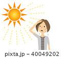 女性 真夏日 暑いのイラスト 40049202