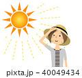 女性 真夏日 暑いのイラスト 40049434