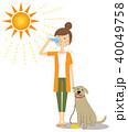 若い女性 水分補給 犬の散歩 40049758