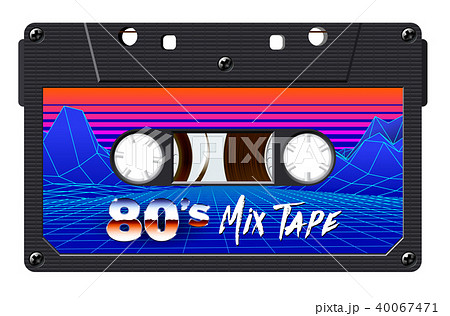 Cassette with retro label as vintage object for 80s revival mix tape design 40067471