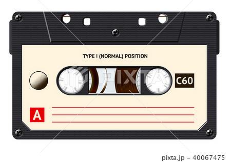 Cassette with retro label as vintage object for 80s revival mix tape design 40067475