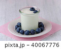 a cup of yogurt with blueberrys on the table 40067776