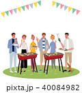 バーベキュー イラスト イベント 若い人たち 40084982
