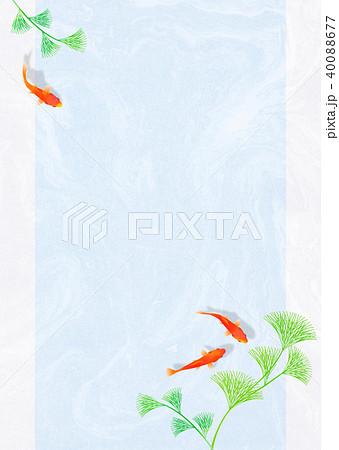 金魚と水草 和紙(青) 40088677