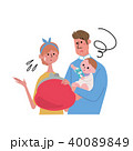 親子 イラスト お金の不安 40089849
