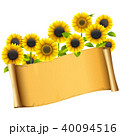 Vector Paper Placard with Sunflowers 40094516