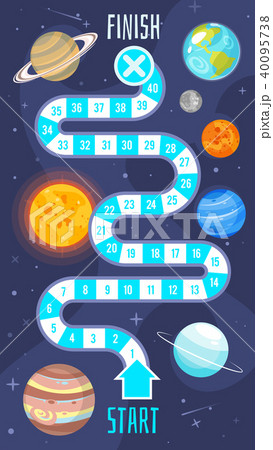 kids space board game templateのイラスト素材 40095738 pixta
