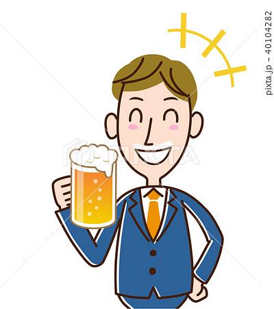 生ビールで口髭ができたサラリーマン 40104282