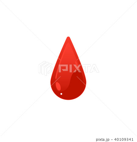 Red blood drop icon - cartoon colorful droplet shape isolated on white background. 40109341